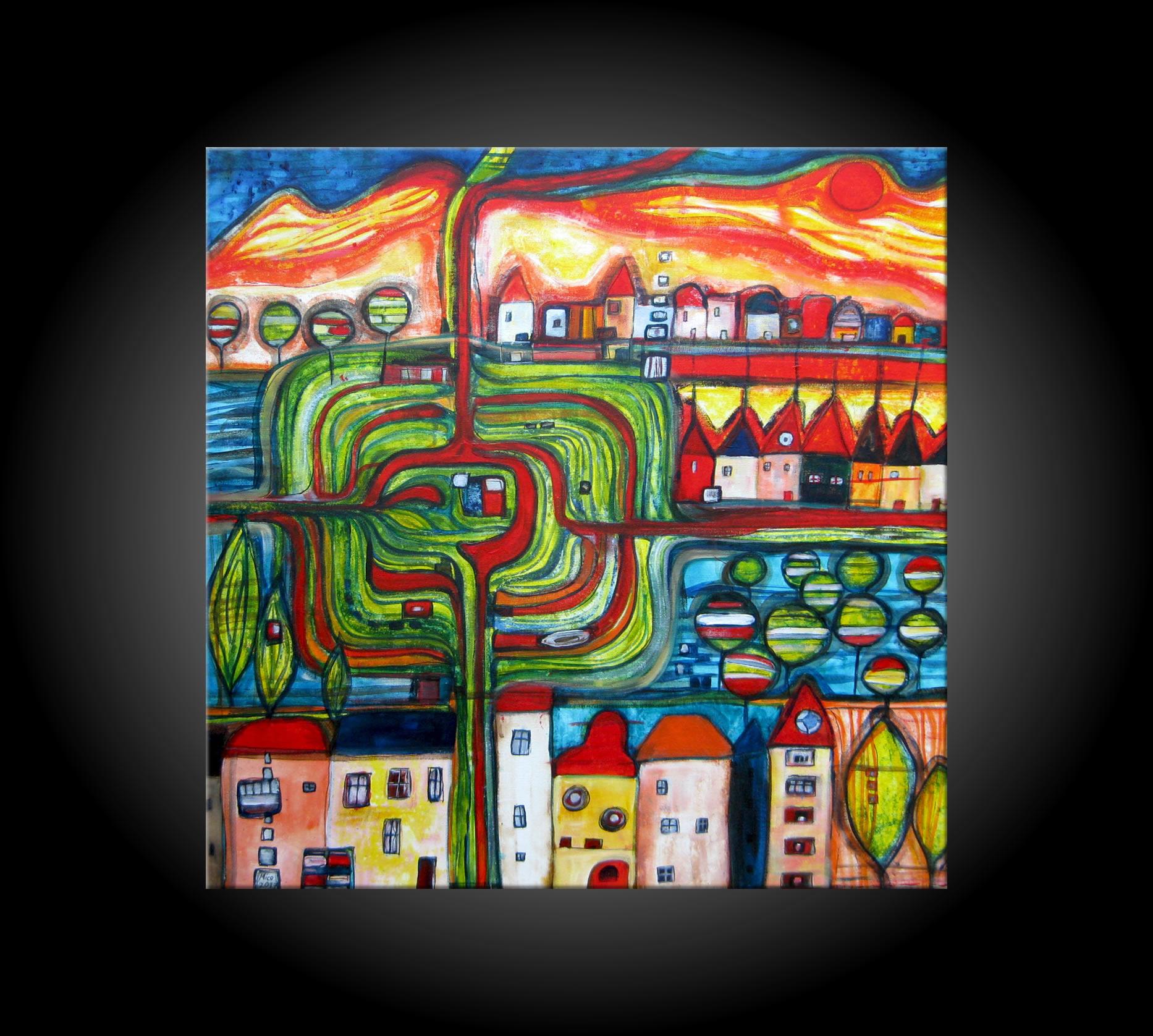 MICO Original Acrylbild HANDGEMALT Gemälde KUNST Bilder abstrakt ...