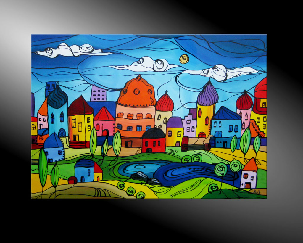 - City Fantasies No 17 100x70 Moderne Kunst in Acryl kaufen
