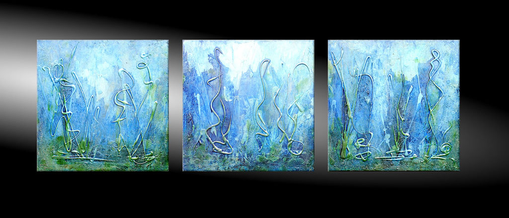 - PHOSPHORESCENCE OF THE SEA 150x50 cm Moderne Kunst in Acryl kaufen